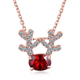Red Zircon Stone Antlers Necklace
