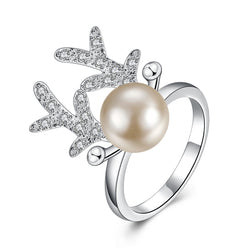Antlers Pearl Inlay Zircon Crystal Ring