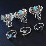 Bohemian Elephants Ring Set (6pcs)