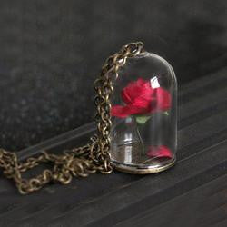 Beauty and the Beast Necklace Rose in Terrarium Pendant