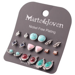 9-Pairs Retro Stud Earring Sets