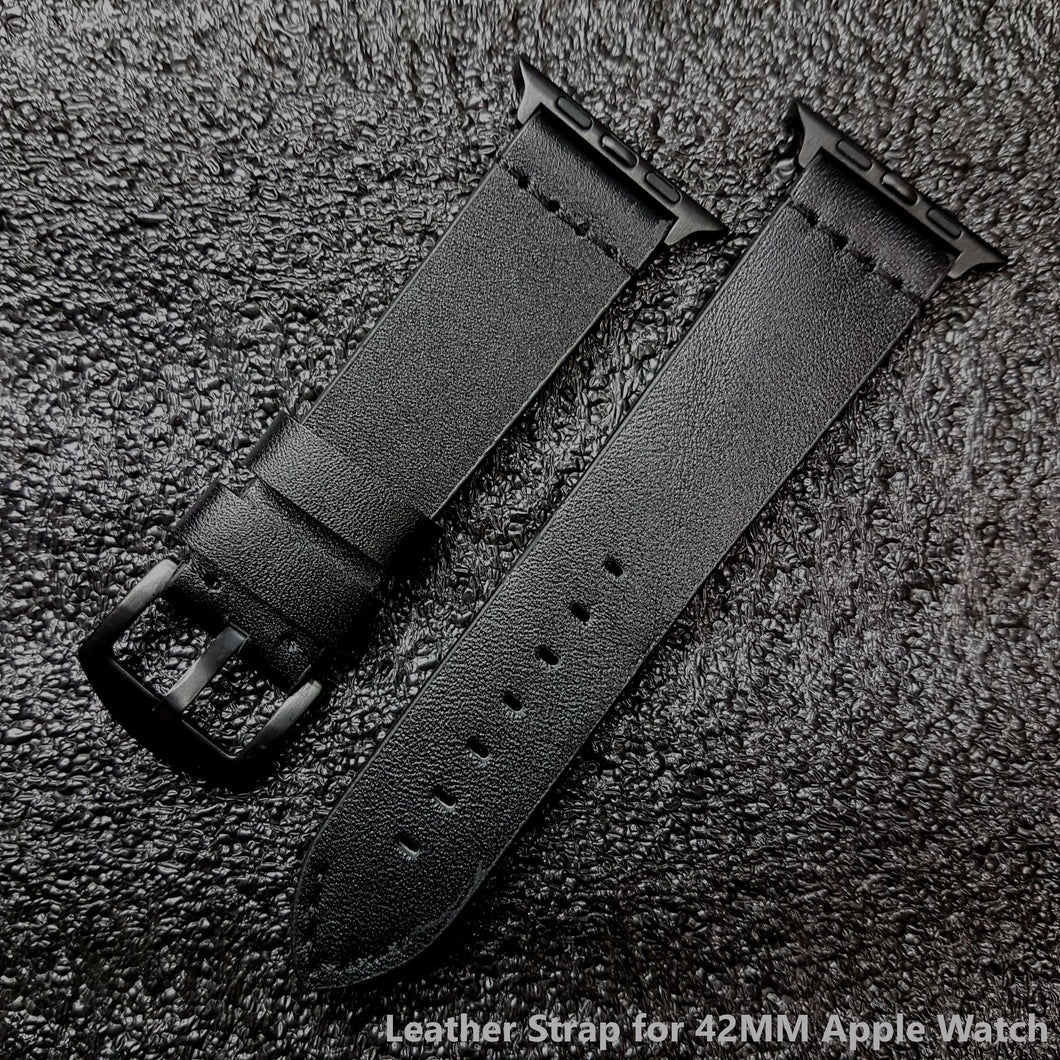 Black Leather Strap for Apple Watch 42mm & 44mm