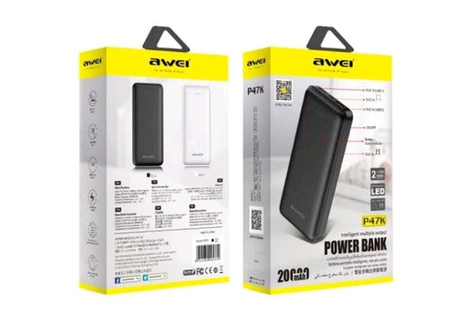 Awei P47K 20000mAh Fast Charging Powerbank BLACK