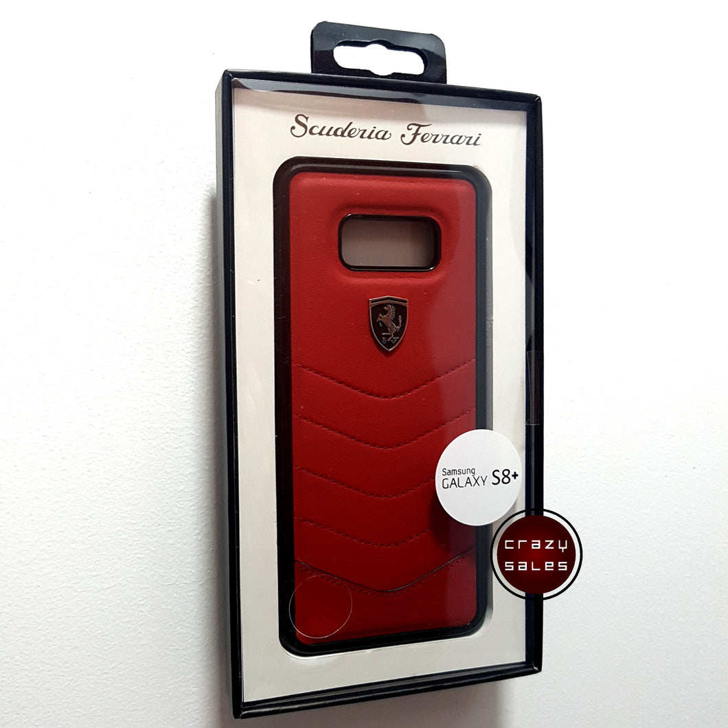 Ferrari Leather Back Case for S8 Plus RED
