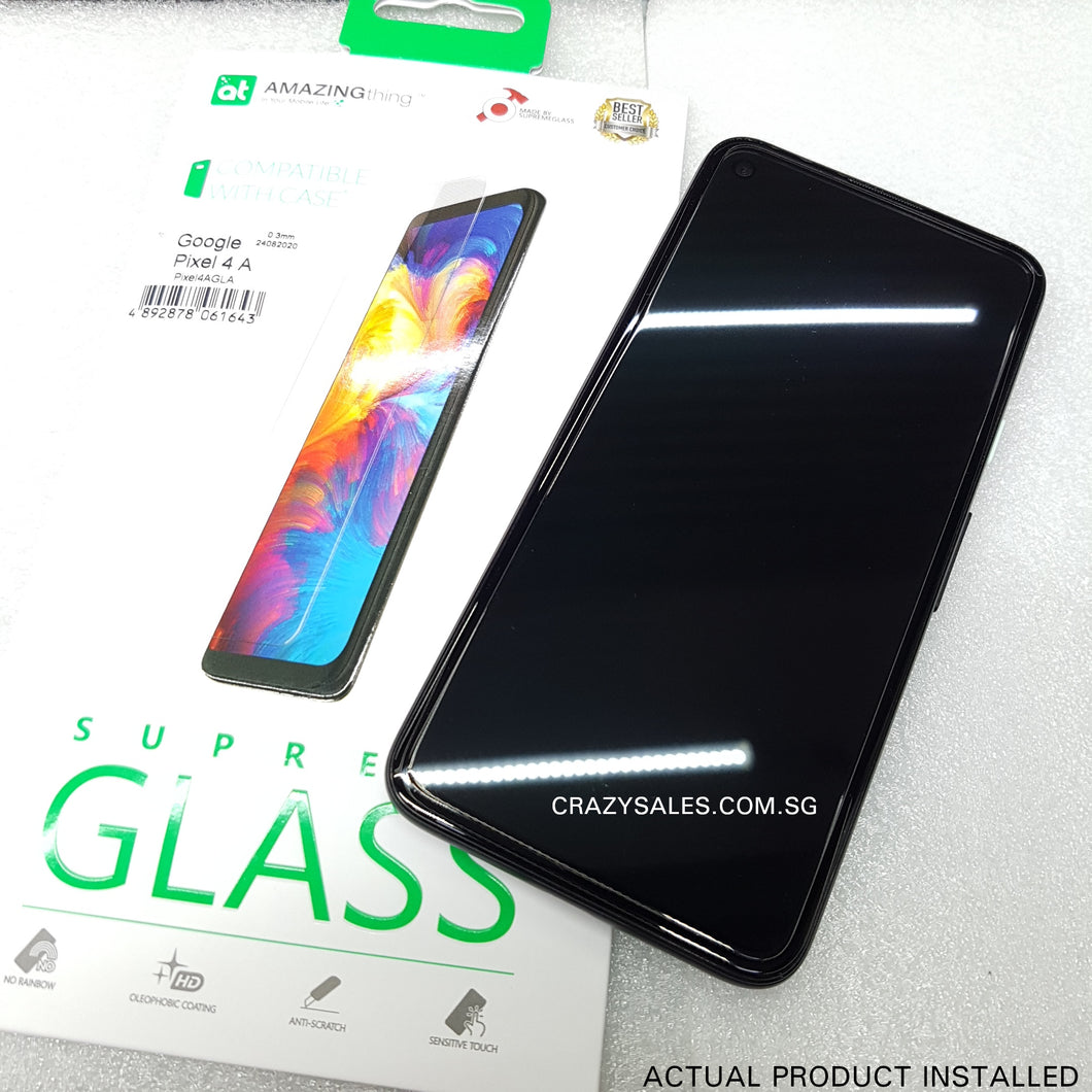 AMAZINGthing Clear Tempered Glass Protector for Google Pixel 4A