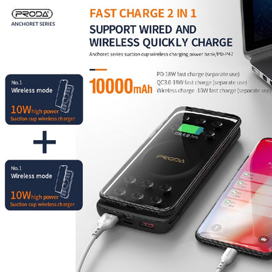 PRODA Power Delivery, Quick Charge 3.0, Wireless Charging with Suction Caps Power Bank PD-P47
