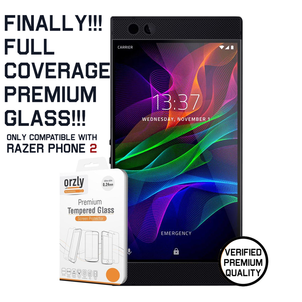 Orzly Premium Full Coverage Tempered Glass for Razer Phone 2 (2018)