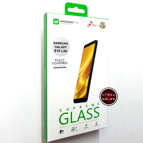 AMAZINGthing Full Tempered Glass Protector for Galaxy S10 Lite