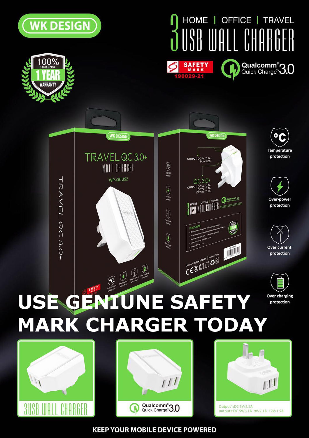 WK Design Quick Charge 3.0 3USB Port SAFETY MARK Charger