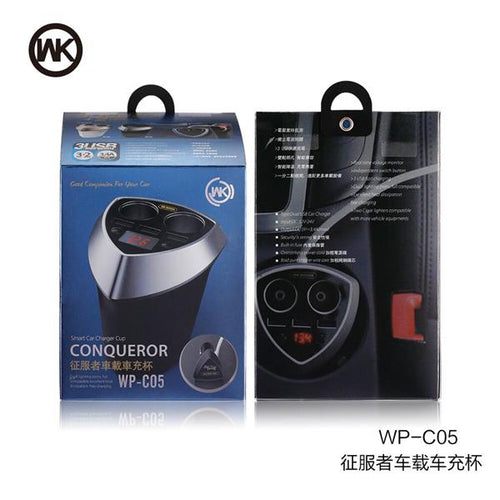 WK Design Conqueror LED Smart Car Charger Cup WP-C05 3.4A
