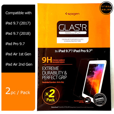[2pc/pk] Spigen Glas.tR Slim Tempered Glass for iPad 9.7 5th Gen, 6th Gen, Air, Air2,