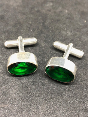 Cufflinks Green Diopside Hand Made, Cufflinks, - Goddess Stone