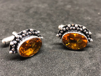 Cufflinks Citrine Hand Made, Cufflinks, - Goddess Stone