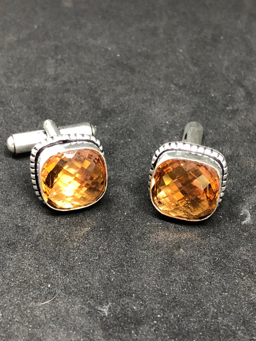 Cufflinks Citrine Topaz Hand Made, Cufflinks, - Goddess Stone
