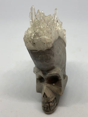 AAA Crystal Cluster Quartz Skull Carvings hand made