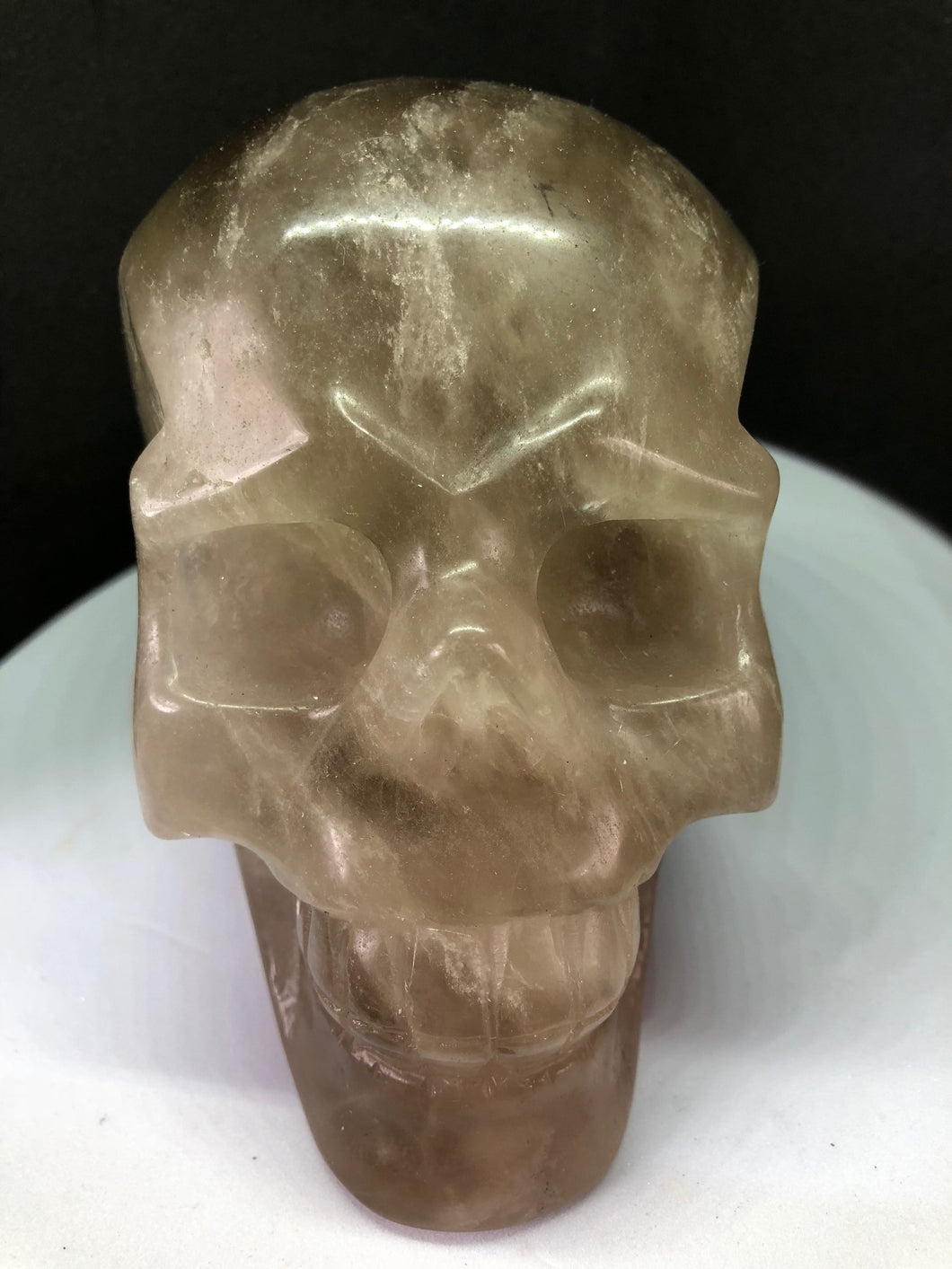 Large Smokey Quartz Crystal Skull Carvings Reiki Healing, Carvings, - Goddess Stone
