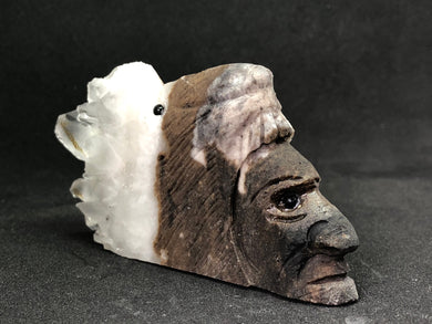 Crystal Cluster Tribal Leader Carving hand made, Carvings, - Goddess Stone