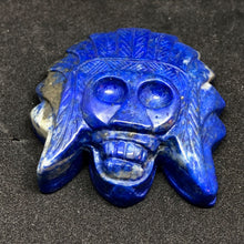 Lapis Lazuli Indian Skull Hand Carvings, Carvings, - Goddess Stone