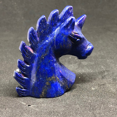 Lapis Lazuli Unicorn / Horse Carvings hand made, Carvings, - Goddess Stone