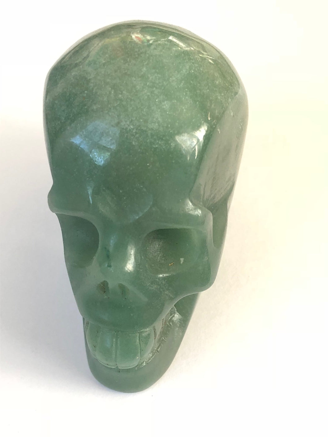 Green Jade Aventurine Skull Carvings Reiki Healing, Carvings, - Goddess Stone