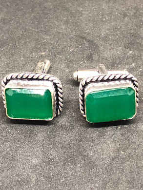 Cufflinks Sakota Mine Emerald Hand Made, Cufflinks, - Goddess Stone
