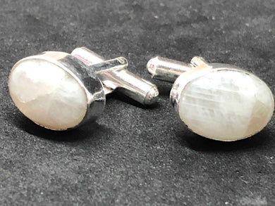 Cufflinks Moonstone Hand Made Silver, Cufflinks, - Goddess Stone
