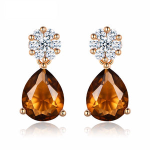 Fashion-Tear-Drop-Earring-for-Women-Gold-Plated-Brown-Yellow-Crystal-Cubic-Zirconia-Dangle