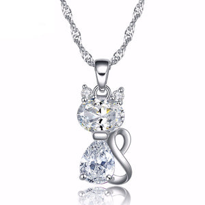 Silver Plated Jewel Cat Necklace