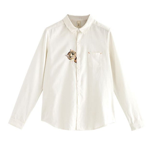 Cat Embroidery Shirt