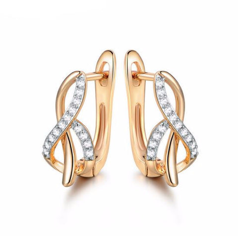 Image of Fashion-Design-Hoop-Earring-for-Women-Gold-Platinum-Plated-Earing-Crystal-CZ-Zircon-Engagement