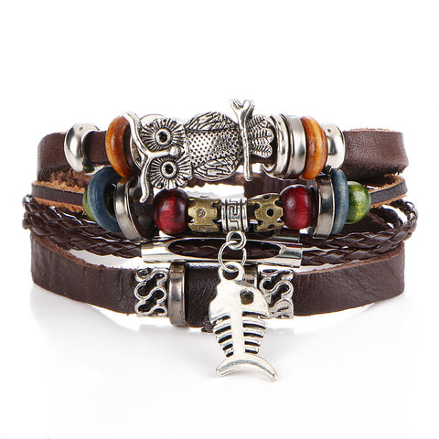 Image of Punk-Design-Turkish-Evil-Eye-Bracelets-For-Women-Men-Wristband-Female-Owl-Leather-Bracelet-Ethnic