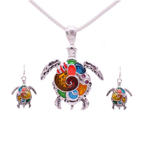 Horse and Turtle Jewelry Set