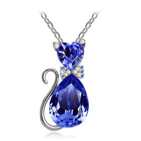Image of gift-brand-design-girl-women-accesorries-jewelry-Austrian-crystal-Cat-catty-Pendant-Chain