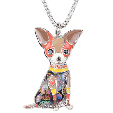 Statement-Metal-Alloy-Chihuahuas-Dog-Choker-Necklace-Chain-Collar-Pendant-Fashion-New-Enamel-Jewelry