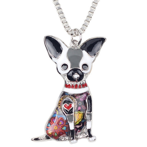 Image of Statement-Metal-Alloy-Chihuahuas-Dog-Choker-Necklace-Chain-Collar-Pendant-Fashion-New-Enamel-Jewelry