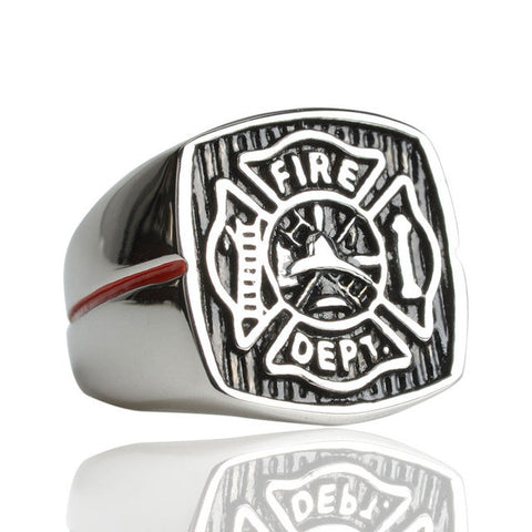 Silver Engraved Firefighter Ring
