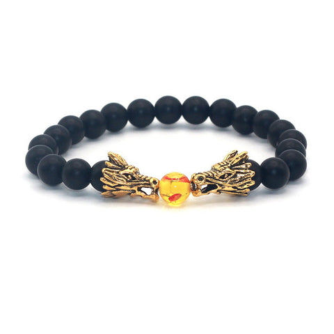 Image of Silver-Gold-Plated-Double-Dragon-Head-with-Matt-Onyx-Black-Natural-Stone-Beads-Bracelet