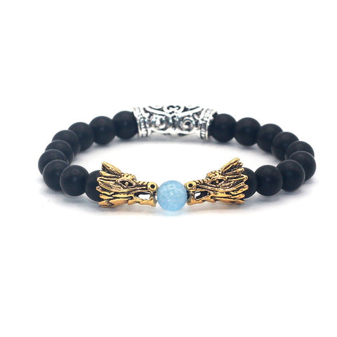 Silver-Gold-Plated-Double-Dragon-Head-with-Matt-Onyx-Black-Natural-Stone-Beads-Bracelet
