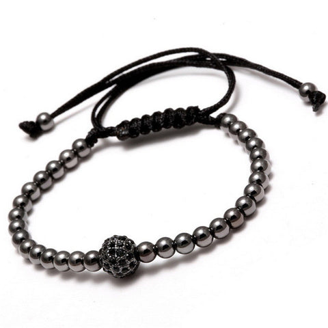 Image of Black-CZ-Beads-Ball-Braiding-Macrame-Bracelet-Friendship-Punk-Gold-Color-Men-Jewelry-Bead