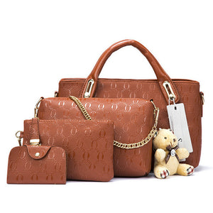 Women Bags Set 4 Pieces with Lovely Cute Bear Doll [8 Colors]