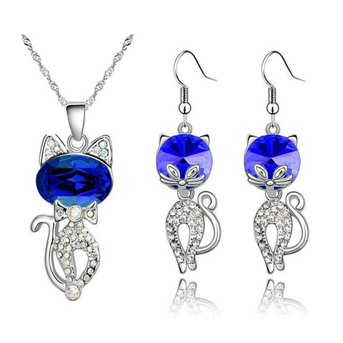 Image of -cute-cat-catty-hotsell-Platinum-Plated-Austrian-Crystal-Pendant-Necklace-Earrings-fashion-Jewelry-Sets