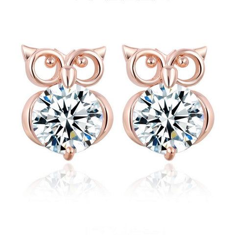 Christmas-Gift-Gold-Color-Metal-Cute-Animal-Owl-Stud-Earrings-Women-Big-Crystal-Earrings-Shinny