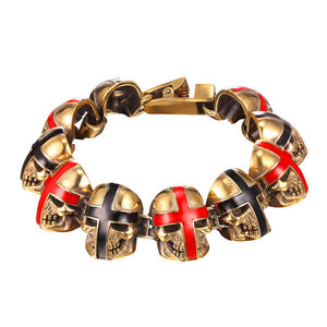 Gold Plated Punk Rock Painted Skull Bracelet [ 2 Colors]