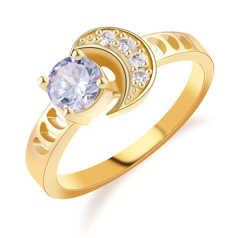 Image of Fashion-Moon-Finger-Band-Gold-Plated-Ring-for-Women-Vintage-Round-blue-Crystal-Yellow