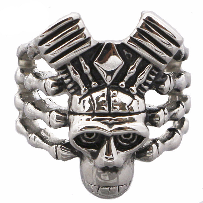 David-Kabel-ghost-Talon-Cool-Biker-Ring-men-316L-Stainless-Steel-Rings-Skull-Motorcycle-Engine-Vintage