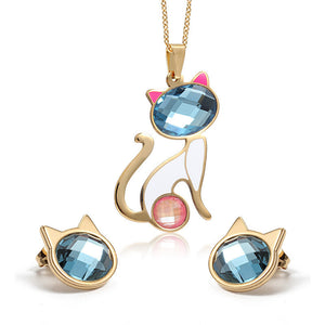 Purrfect Gold-Plated Cat Jewelry Set