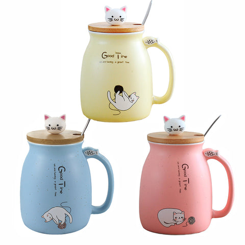 Image of Cute Kitten Cat Ceramic Mug With Spoon