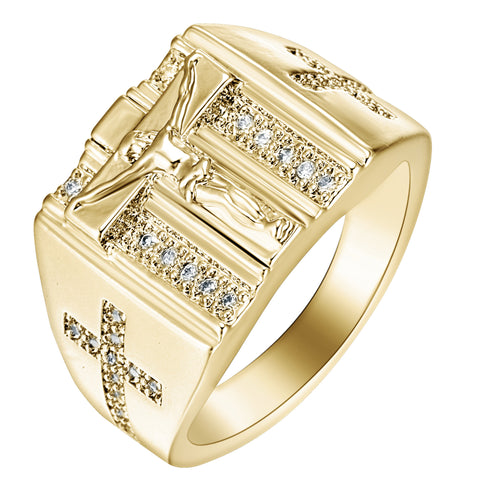 Gold Plated Jesus Cross Ring