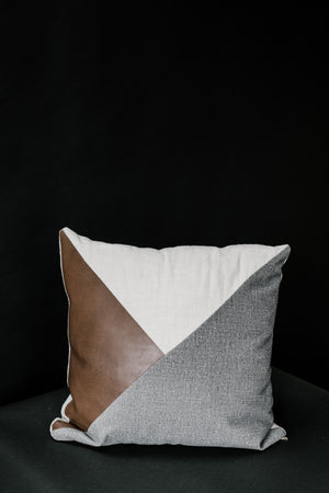 Vegan Leather Colorblock Pillow