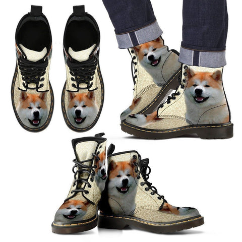 Akita Print Boots For Men-Express Shipping-Paww-Printz-Merchandise